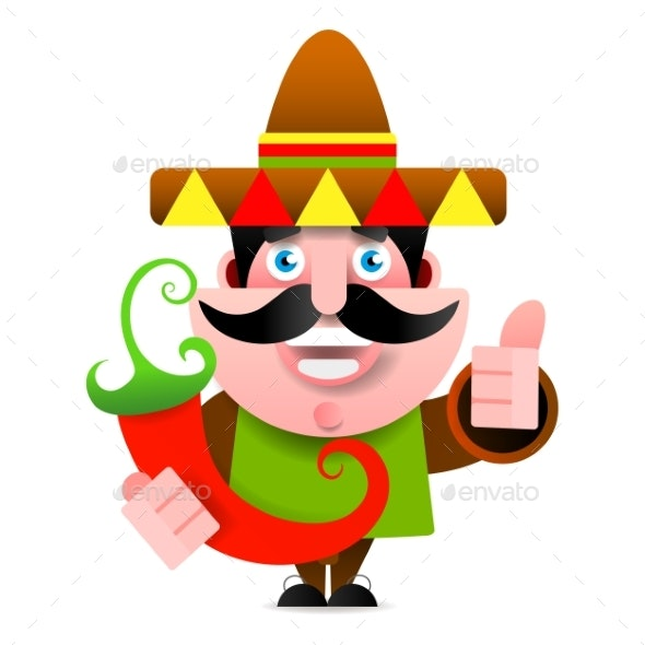 Mexican Man in Sombrero Showing Okay Sign - Miscellaneous Vectors