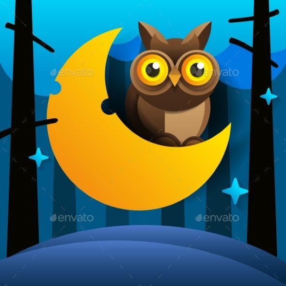 Cartoon Owl Sits on The Slumbering Crescent - Animals Characters