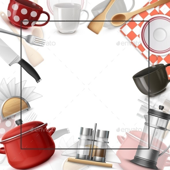 Realistic Dishes Colorful Template - Food Objects