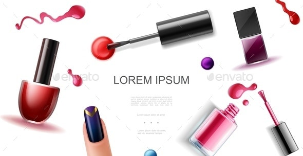 Realistic Nail Polish Template - Miscellaneous Vectors