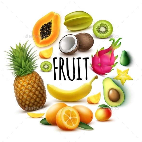 Realistic Fresh Exotic Fruits Round Concept - Food Objects