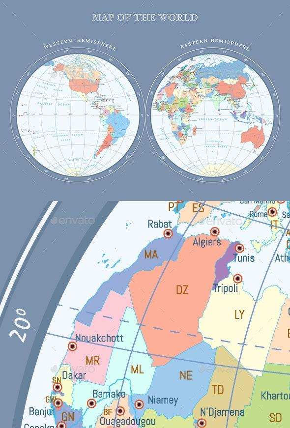 Map of Hemispheres - Miscellaneous Vectors