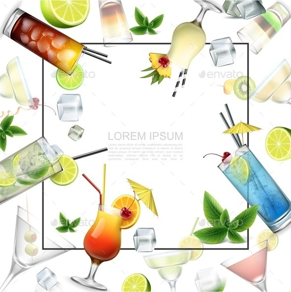Realistic Alcoholic Beverages Template - Food Objects