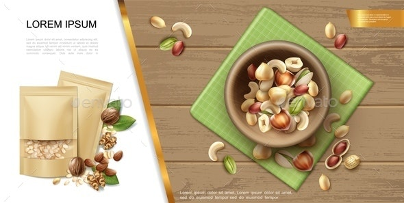 Realistic Organic And Natural Nuts Template - Food Objects