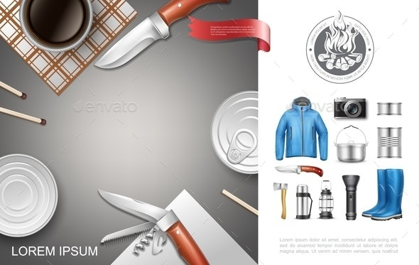 Realistic Camping And Tourism Concept - Food Objects