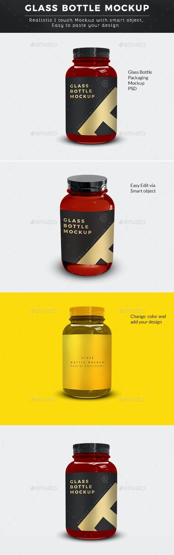 Glass Bottle Supplement Packaging Mockup - Packaging Product Mock-Ups