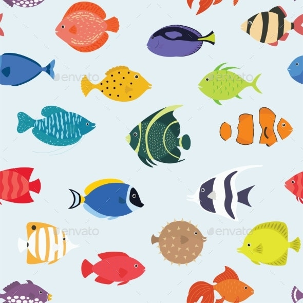 Seamless Pattern with Fish - Animals Characters