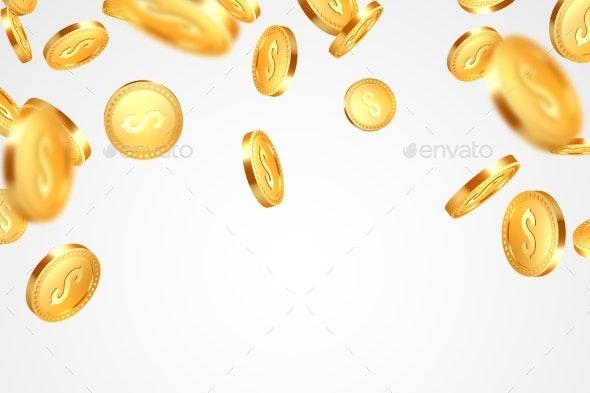 Realistic Golden Coins Explosion - Miscellaneous Vectors