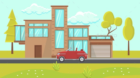 House Exterior Design Flat Vector Illustration - Buildings Objects