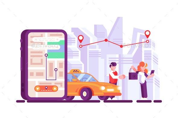 Online Taxi Open Mobile App on Smartphone Screen - Miscellaneous Vectors