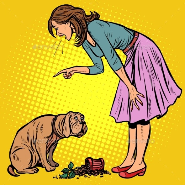 Woman Scolds Guilty Dog. Broken Pot with Flower - Animals Characters
