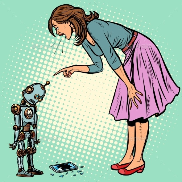 Robot Broke the Phone. Woman Scolds Guilty - People Characters