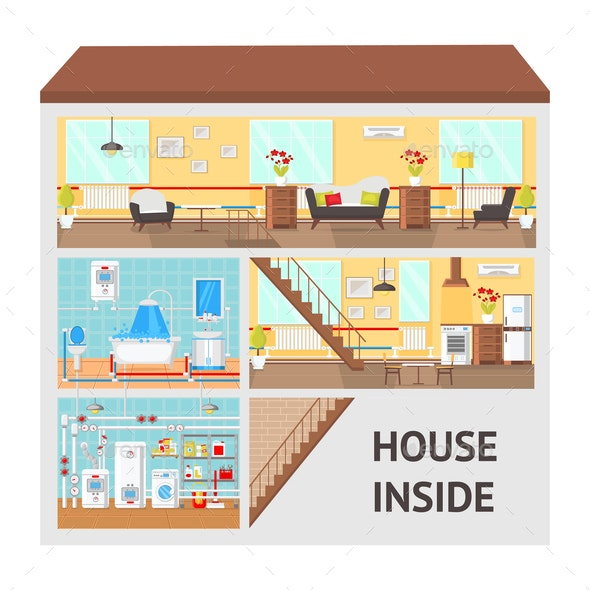 House Inside Concept Flat Vector Illustration - Buildings Objects