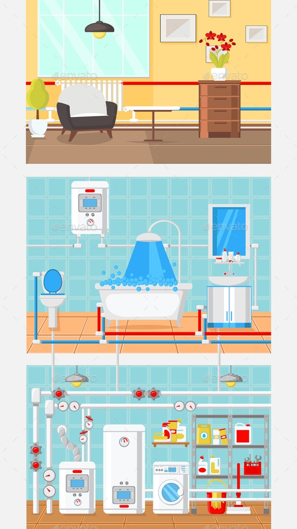 Rooms Interior Concept Flat Vector Illustration - Buildings Objects