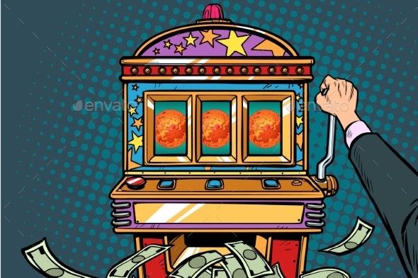 Science Mars Exploration Prize Slot Machine - Business Conceptual
