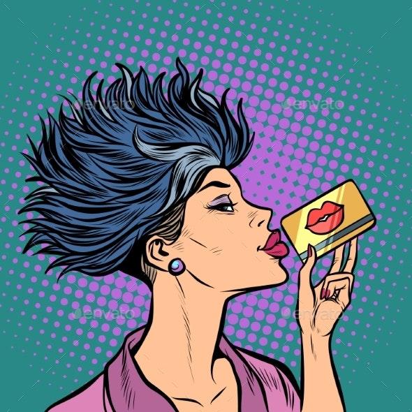 Woman Bank Card Kiss - People Characters