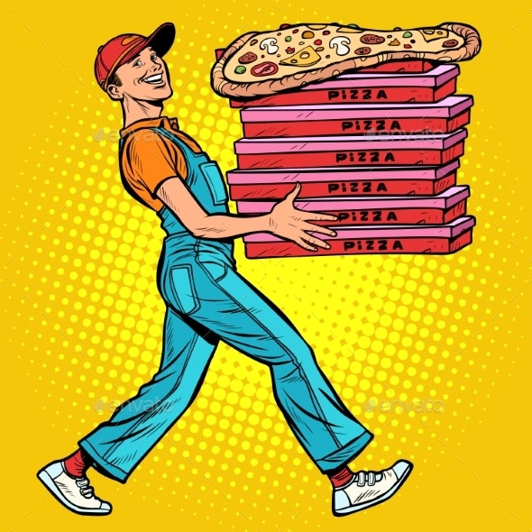 Young Man Pizza Boy, Food Delivery - Food Objects
