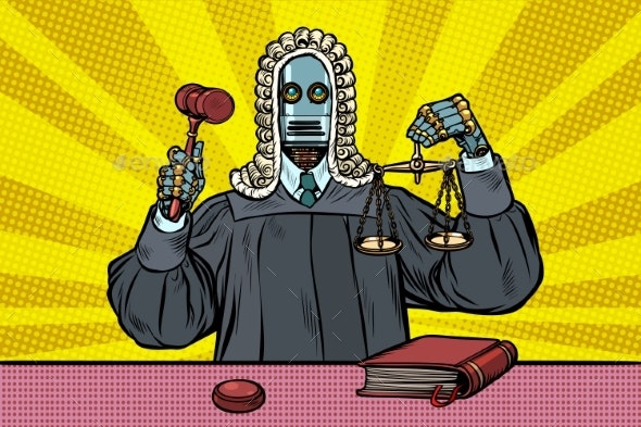 Robot Judge in Robes and Wig - Technology Conceptual
