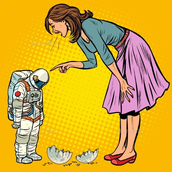 Woman Scolds Astronaut. The Guilty Destroyed Moon - Technology Conceptual