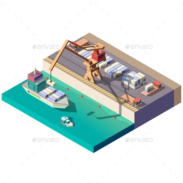 Cargo Ship Unloading in Seaport Isometric Vector - Industries Business