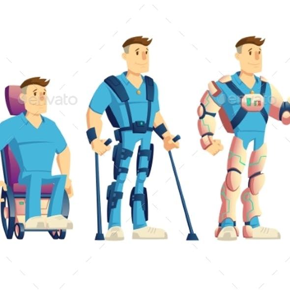 Exoskeletons for Disabled People Cartoon Vector