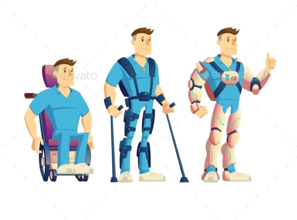 Exoskeletons for Disabled People Cartoon Vector - Man-made Objects Objects