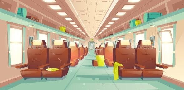 Passenger Train Wagon Interior Cartoon Vector - Travel Conceptual