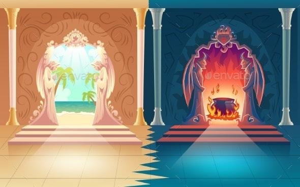 Heaven and Hell Gates Cartoon Vector Concept - Religion Conceptual