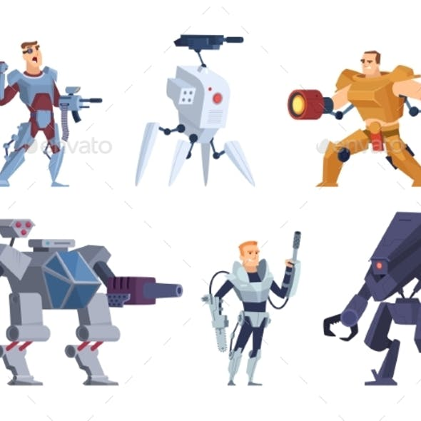 Robots Warriors. Characters in Exoskeleton Brutal