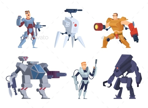Robots Warriors. Characters in Exoskeleton Brutal - Characters Vectors