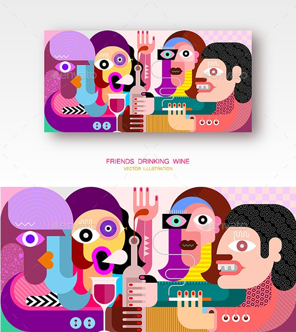 Friends Drinking Wine - People Characters