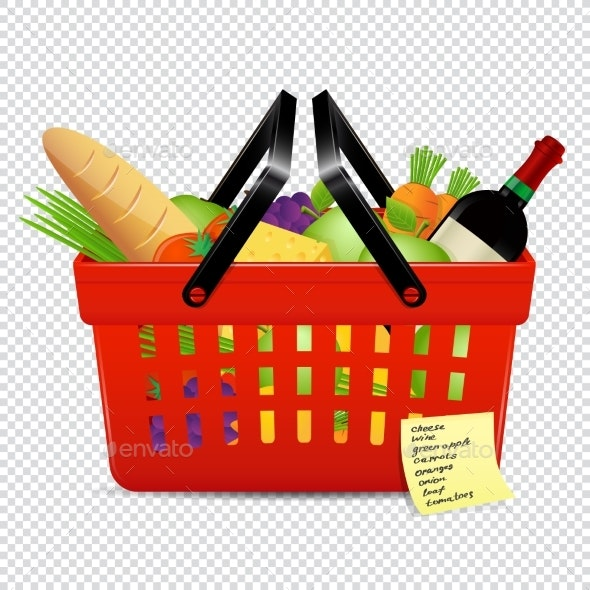 Shopping List and Red Basket with Foods Isolated - Food Objects
