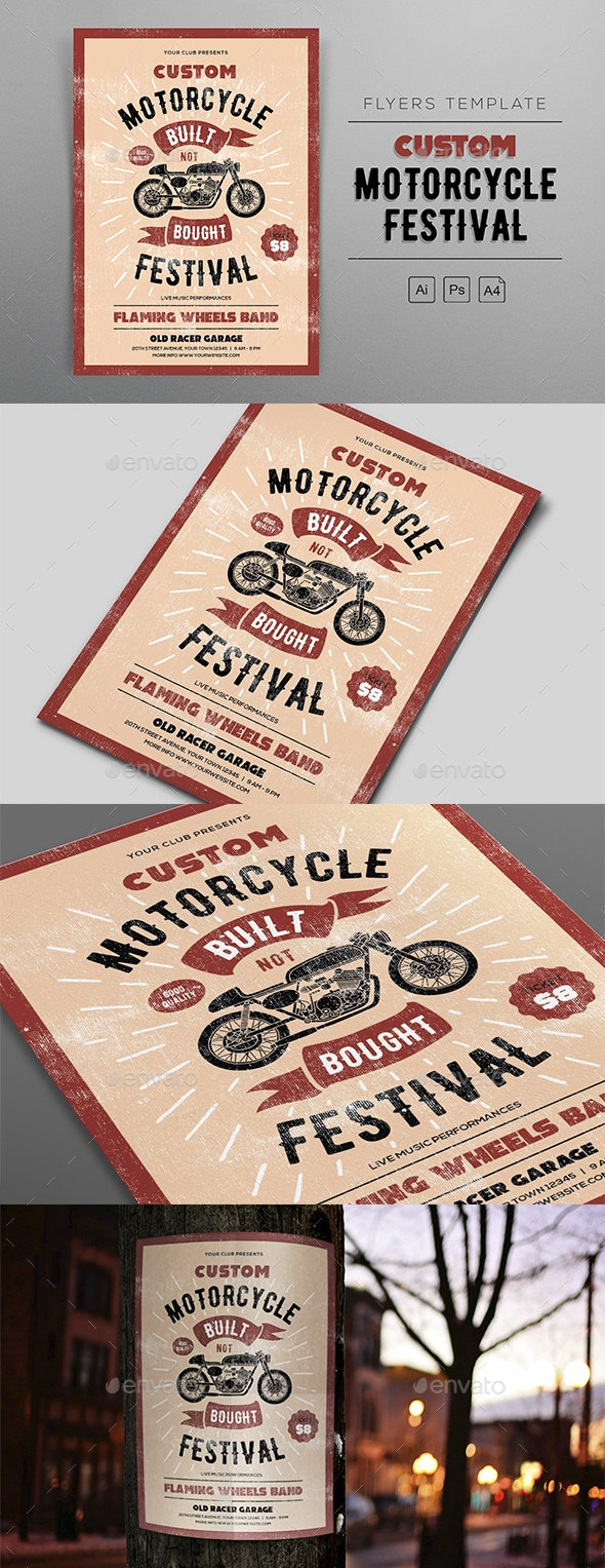 Custom Motorcycle Festival Flyers Template - Clubs & Parties Events
