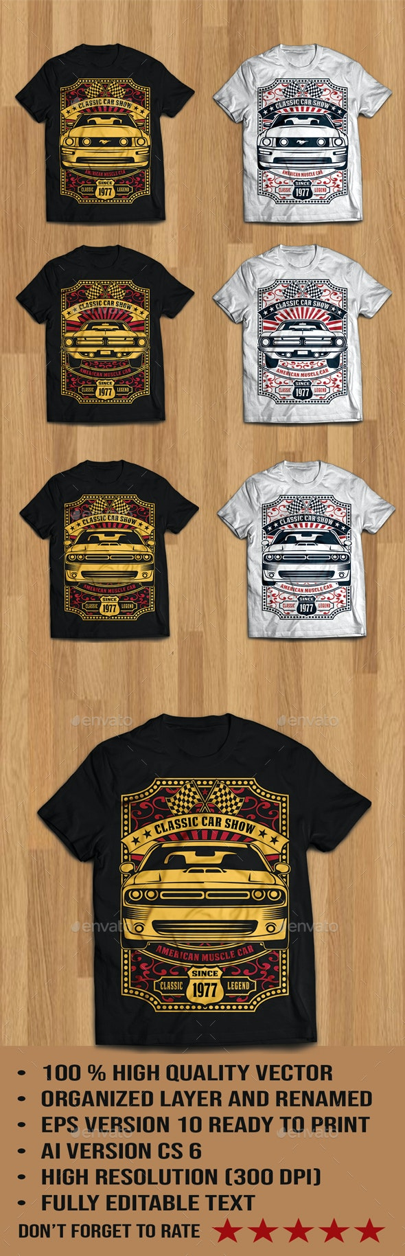 6 Classic Car Show tshirt design - Events T-Shirts