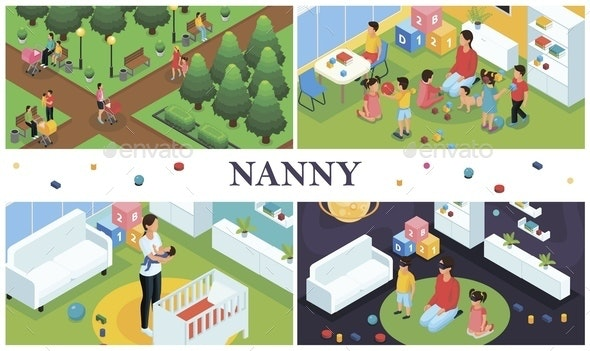Isometric Nanny Work Composition - People Characters