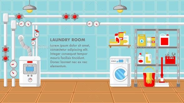 Laundry Room Flat Design Vector Illustration - Miscellaneous Vectors