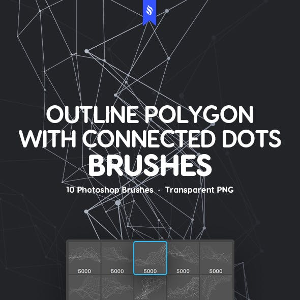 Outline Polygon with Connected Dots Photoshop Brushes
