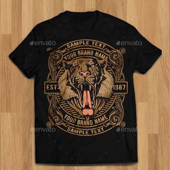 Tiger Head Tshirt Illustration Design