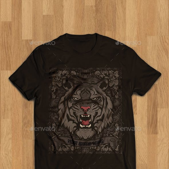 Tiger Head Illustration Tshirt Design