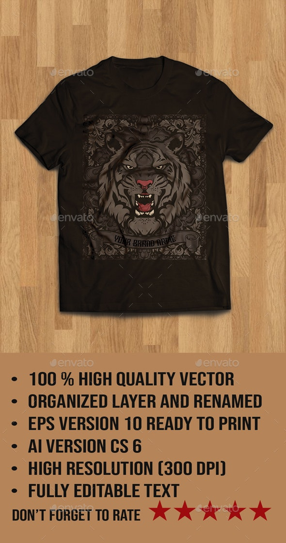 Tiger Head Illustration Tshirt Design - T-Shirts
