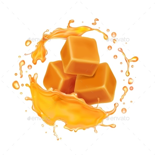 Caramel Candies in Caramel Syrup or Honey Splash - Food Objects