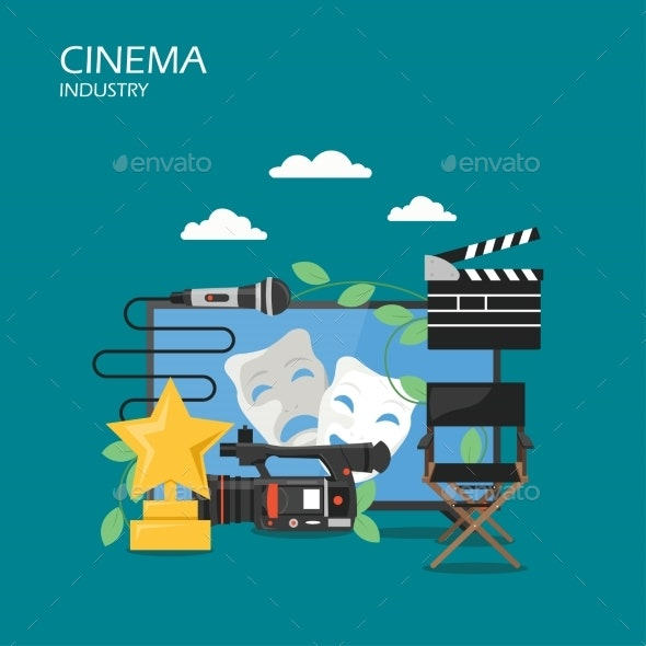 Cinema Industry Vector Flat Style Design - Miscellaneous Vectors