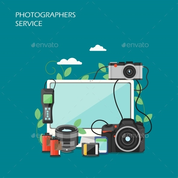 Photographers Service Vector Flat Style Design - Services Commercial / Shopping