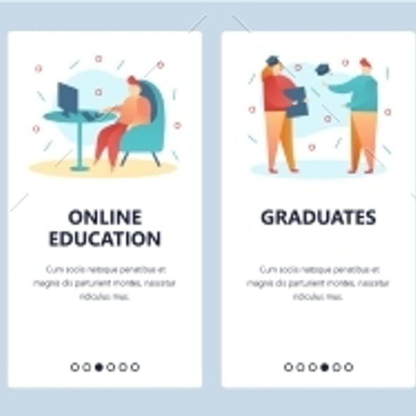 Web Site Onboarding Screens College Education