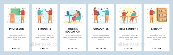 Web Site Onboarding Screens College Education - Web Elements Vectors