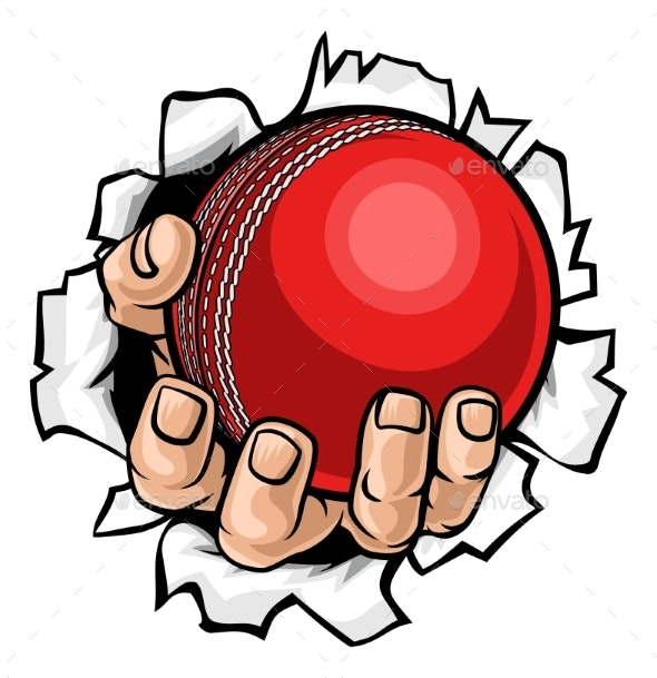 Cricket Ball Hand Tearing Background - Sports/Activity Conceptual