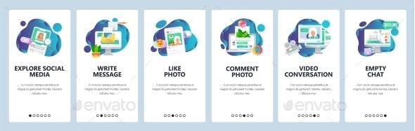 Web Site Onboarding Screens Social Media Services - Web Elements Vectors