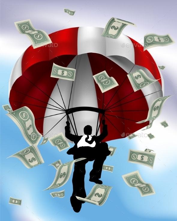 Parachuting Cash Silhouette Business Man - Concepts Business
