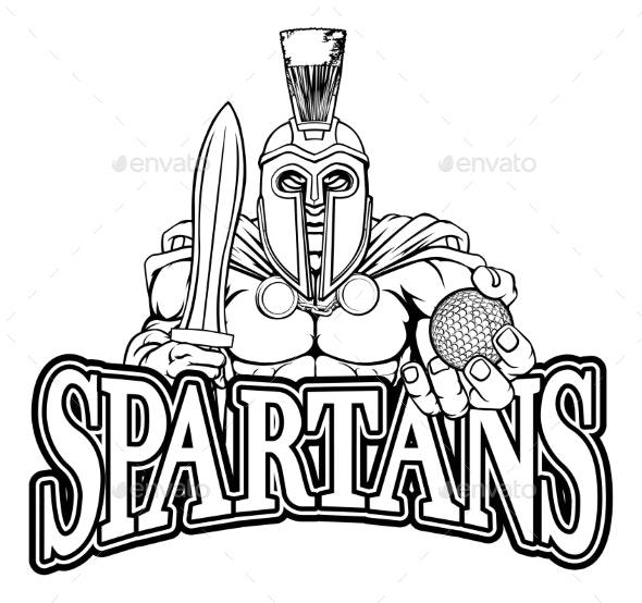 Spartan Trojan Golf Sports Mascot - Sports/Activity Conceptual