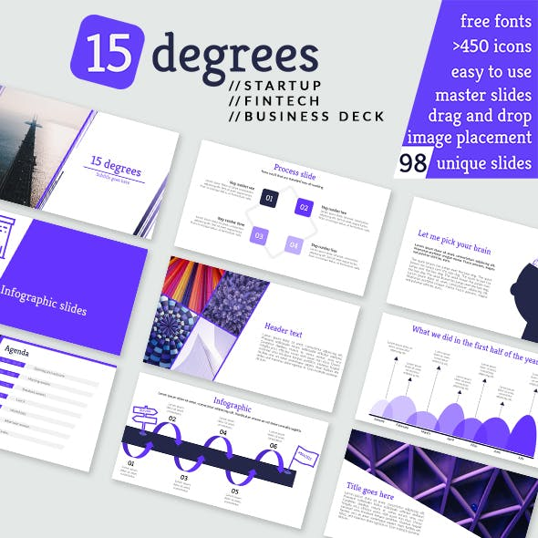 15 Degrees Keynote Startup Fintech Business Presentation